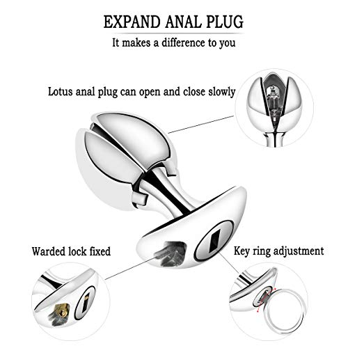 YiFeng Opening Lotus Anal Plug, Heavy Duty Stainless Steel Anal Trainer Butt Expander with Lock by YiFeng (Image #2)