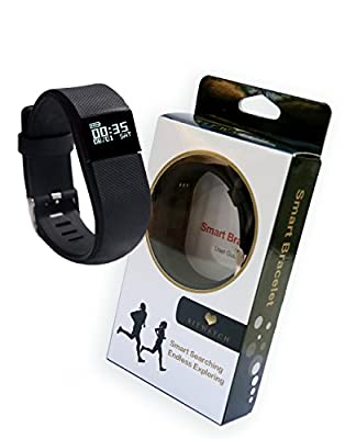 BITWATCH Activity Tracker Bracelet - Fitness and Activity Watch Smart Wristband Wireless Bluetooth Sleep Monitor Step Counter Sports Pedometer and Exercise Band for IOS and Android Smartphones (Black)