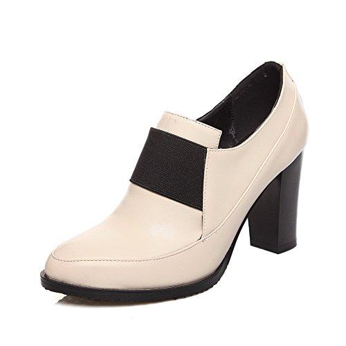 AllhqFashion Damen Hoher Absatz Blend-Materialien Elastic Band Pumps Schuhe Aprikosen Farbe
