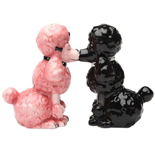 Kissing Poodles Dogs Magnetic Ceramic Salt and Pepper Shakers Set Kitchen Home Decor 41r0r2 2BpdCL