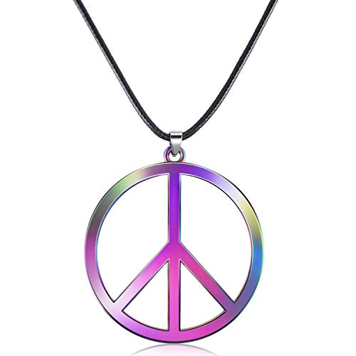 Tatuo 1 Piece Metal Peace Sign Pendant 1960s 1970s Hippie Party Accessories Necklace (Rainbow Color) -