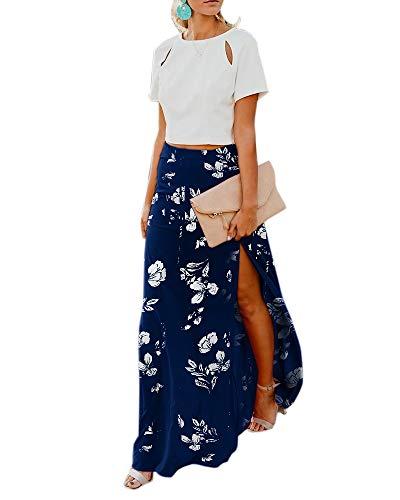 Imily Bela Womens High Waisted Chiffon Flowy Vintage Skirts Side Split Long Maxi Bottom (Small, Y-Navy Blue) ()