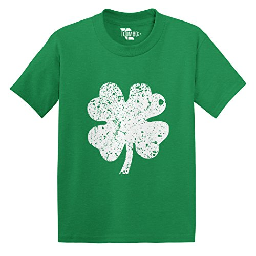 Tcombo Distressed Irish Shamrock – Clover- ST Patricks Day Gift Toddler/Infant T-Shirt (Kelly Green, 5T)
