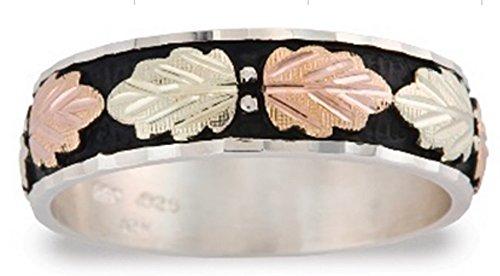Men's Antiqued Wedding Band, Sterling Silver, 12k Green and Rose Gold Black Hills Gold Motif, Size (Antiqued Mens Wedding Ring)