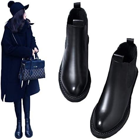 MASAP Botas desnudas Booties Female Flat Bottom Wild Chelsea Boots Autumn and Winter PU Black Martin Boots Female British Wind Thick Bottom 40 OMZzpdEO