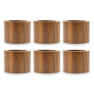 DII Napkin Rings for Dinners, Parties, Everyday, for Dinners, Parties, Everyday, Set of 6, Wood Band
