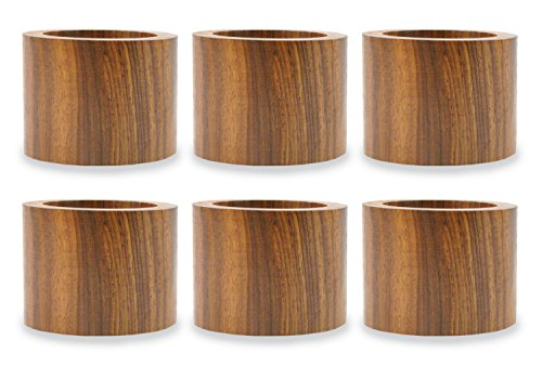 DII Rustic Chic Napkin Rings for Dinner Parties, Weddings Receptions, Family Gatherings, or Everyday Use, Set Your Table With Style - Wood Band, Set of 6