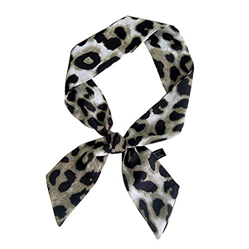 (GERINLY Leopard Neck Tie Chic Skinny Scarf Hairband Stylish Purse Scarf Leopard Accessory (Light Grey))