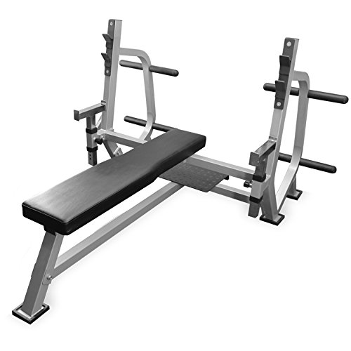 Valor Fitness BF-49 Olympic Weight Bench with Spotter Stand, Safety Catches, Plate Storage Pegs
