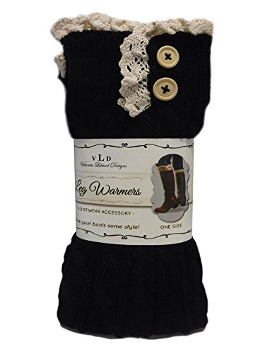 Crocheted Topper - Victoria Leland Designs Crocheted knit Leg Warmers Boot Toppers cuff (Black)