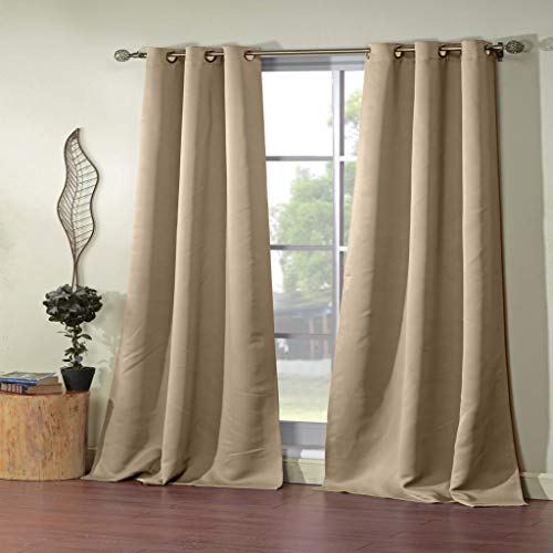 - Blackout365 - Home Fashion Solid Faux Silk Blackout Room Darkening Grommet Top Window Curtains Pair Panel Drapes for Bedroom, Living Room - Set of 2 Panels - 38 X 84 Inch - Taupe