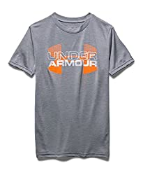 Under Armour Boys' Tech Big Logo Hybrid T-Shirt, Graphite (040), Youth X-Small