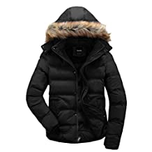 Wantdo Men's Quilted Puffer Parka Jacket with Fur Hood