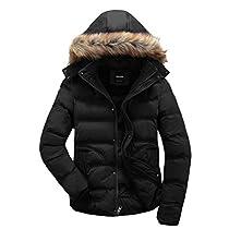 Wantdo Mens Winter Puffer Coat Casual Fur Hooded Warm Outwear Jacket