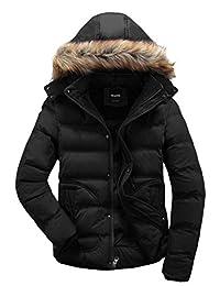 Wantdo Men's Winter Puffer Coat Casual Fur Hooded Warm Outwear Jacket