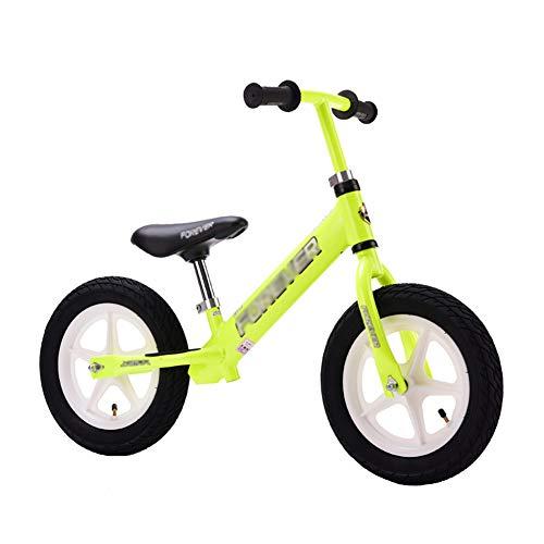 Kids' Balance Bikes Kids' Sport Balance Bike with Adjustable Handle Grip & Leather Seat, No Pedal Balance Training Bike for Kids Age 2-8yr, 154lbs Load (Color : Green)
