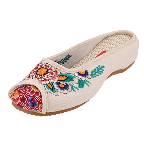 Embroidered Wedge - CINAK Embroidery Flats Slippers Flower- Casual Slip-ons Comfortable Loafer Chinese Embroidered Shoes Ballet Flats(9 B(M) US/UK7/EU41/CN42/26CM,Beige)
