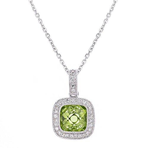 Revoni Bague en or blanc 9carats-Collier avec pendentif carré diamant et Peridot