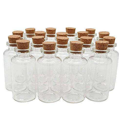 Axe Sickle 36PCS 20ml Cork Stoppers Glass Bottles, DIY Decoration Mini Glass Bottles Favors, Mini Vials Cork, Message Glass Bottle Vial Cork, Small Glass Bottles Jars Corks for Wedding Party Favors.