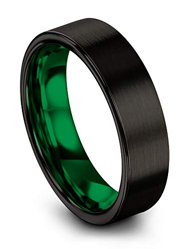 Chroma Color Collection Tungsten Carbide Wedding Band Ring 6mm for Men Women with Green Interior and Black Exterior Flat Cut Brushed Polished Comfort Fit Anniversary Size 14