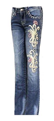 Montana West Western Embroidered Rhinestone & Studded Jeans Size 9 ()