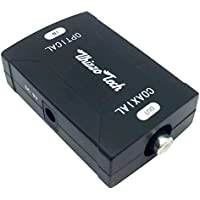Whizzotech Toslink Optical to Coax Coaxial Digital Audio Converter (Black) 24bit/192K sampling rate