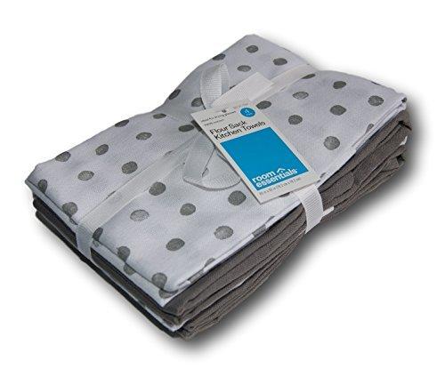 Amazon Com Room Essentials Flour Sack Kitchen Towel Gray Dot