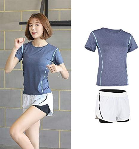 レディースジャージ上下セット 女性のスポーツウェアランニングフィットネスヨガレギンスセットジムトレーニング服 (Color : Blue, Size : M)