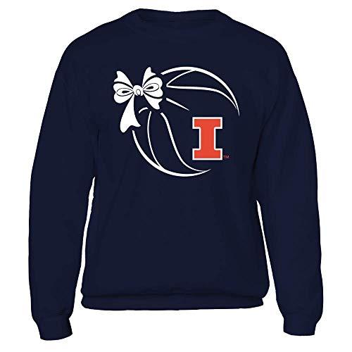 (FanPrint Illinois Fighting Illini Sweatshirt - Basketball Ribbon - Crewneck Sweatshirt/Navy/XL)