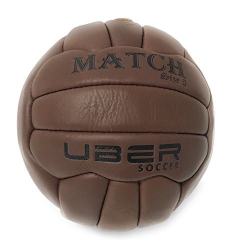 Uber Soccer Vintage Match Soccer Ball - Players Replica - Size 5 - Hand Stitched Leather - Brown (Uruguay Cup World)