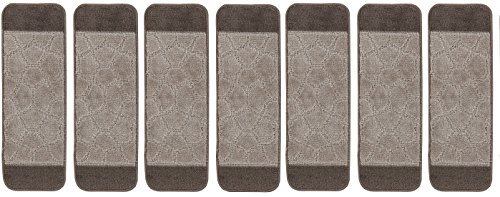 Ottomanson Softy Stair Treads Brown Design Set of 7 Skid Resistant Rubber Backing Non Slip (9