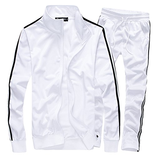 MACHLAB Men's Athletic Full Zip Running Tracksuit Sports Set Casual Sweat Suit White XL