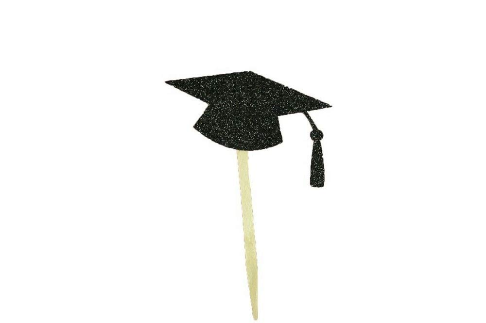 Glitter Graduation Cap Shape Cupcake Topper Pick 2.5'' Wide Black Color & 50 Pieces Tkdream