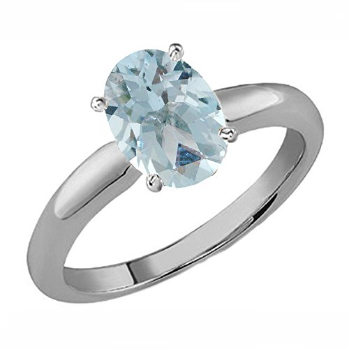 Aquamarine Solitaire Oval - Dazzlingrock Collection Sterling Silver 8X6 MM Oval Aquamarine Ladies Solitaire Bridal Engagement Ring, Size 7