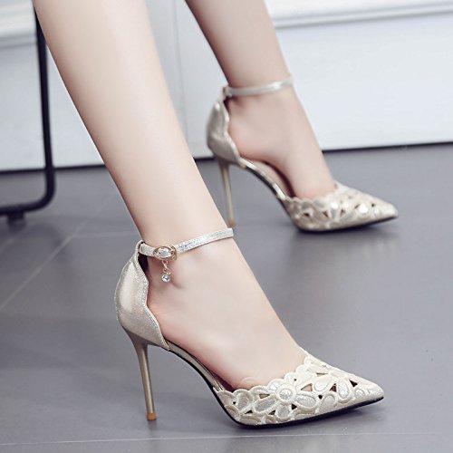 ZHUDJ Mesdames Talons Hauts Chaussures Avec A Fait Tous Les Matchs Féminins Printemps Fine Bouche Peu Profondes Mot Chaussures Sandales Boucle Golden 818-16 Pa3iNZJB