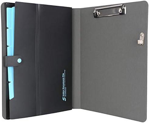 iCarryAll Notizblock-Portfolio mit Fächermappe, A4, erweiterbarer Ordner, Business-Mappe, Organizer, Portfolio, schwarz, 26 x 26 x 32 cm (HMQ003-BK)