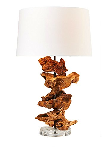 O'THENTIQUE Driftwood Table Lamp | Natural Rustic Reclaimed Wood Root, Earthy Finished | White Shade Acrylic Base Perfect as Desk Lamp, Accent Lamp, Nightstand for Beach House, (Acrylic Accent Table Lamp)