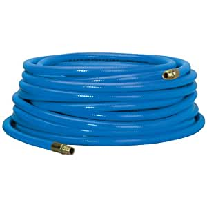 Campbell Hausfeld Heavy-Duty Air Hose 50ft, 3/8-Inch, Reinforced PVC Hose with Brass Fittings, Blue (PA117801AV)