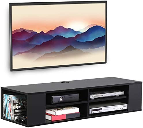FITUEYES Wall Mounted Media Console,Floating TV Stand Component Shelf Black FDS212002WB