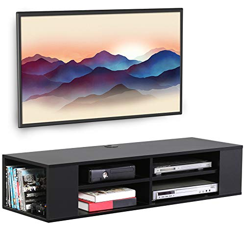 FITUEYES Media Entertainment Storage Shelf Black Wall Mounted Floating TV Stand Media Audio Video Console DS212002WB