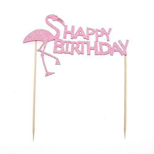 PINGJING Hand-Made Light Pink Flamingo Glitter Cake Topper for Birthday Wedding Anniversary Party Decoration Baking Accessories, 7''x4.5'' (5PCS) by PINGJING