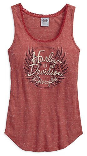 Wisconsin Harley-Davidson Harley-Davidson Women's Flecked Wing Sleeveless Tank Top, Red 96154-17VW (XL) - Ladies Harley Davidson