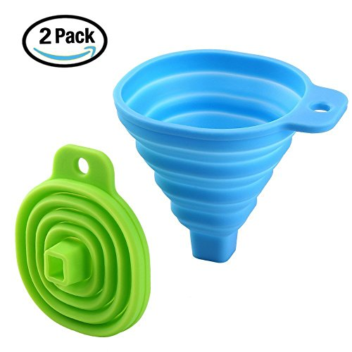 HOME-US Collapsible Funnel Set of 2 with Bottle Brush,Small Flexible Silicone Foldable Kitchen Funnel for Liquid/Powder Transfer,100% Food Grade Silicone FDA Approved Silicone Funnel