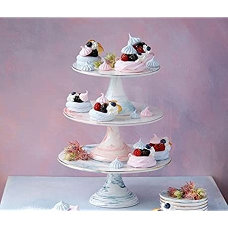 One Hundred 80 Degrees Marbled 3 Tiered Cake Plate