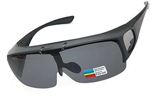 Beison Driving Glasses Flipup Coverup Polarized Fitover Sunglasses B-6453 (Matte black, Smoke - Frame Over Sunglasses