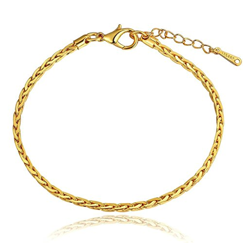Epinki 24K Gold Plated Bracelet, Women's Men's Link Bracelets Geometric Length 20CM+5CM