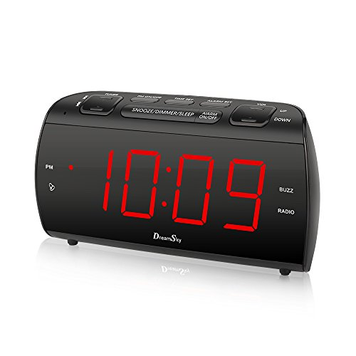 DreamSky Alarm Clock Radio With FM Radio And USB Port For Phone Charger , 1.8 ' Large LED Digit Display With Dimmer , Snooze , Sleep Timer , Earphone Jack, DC Powered And Battery Backup .