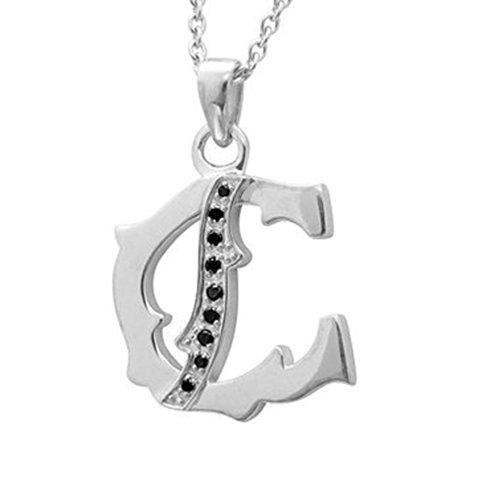 Men's Sterling Silver Alphabet Initial Letter C Black Diamond Pendant Necklace (0.06 Carat) 0.06 Ct Initial Pendant