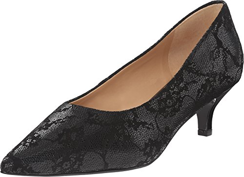 Heels Patent Lace Leather - Trotters Women's Paulina Black Lace Embossed Leather Pump 9.5 N (AA)