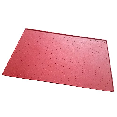 Cideros Home Goods Multi-Purpose Pet Food Mat Boot Mat Tray - Cat and Dog | Premium FDA Grade Silicone for Indoor and Outdoor Floor Protection, Prevents Messes (Size 48cm(L)30cm(W)1cm(H),Red)
